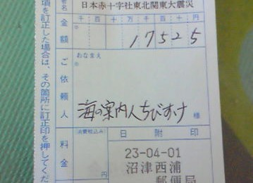 東日本大震災 ちびすけマッチング募金3月分
